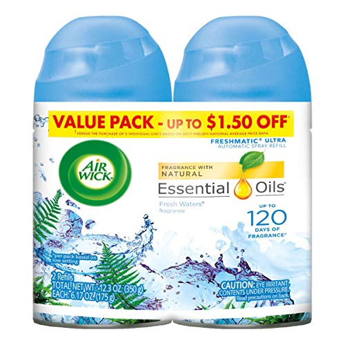 Air Wick Pure Freshmatic 2 Refills Automatic Spray, Fresh Waters, (2x5.89 oz), Air Freshener,...