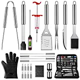 OlarHike BBQ Grilling Accessories Grill Tools Set, 25PCS Stainless Steel Grilling Kit for Smoker, Camping, Kitchen, Barbecue Utensil for Men Women with Thermometer and Meat Injector