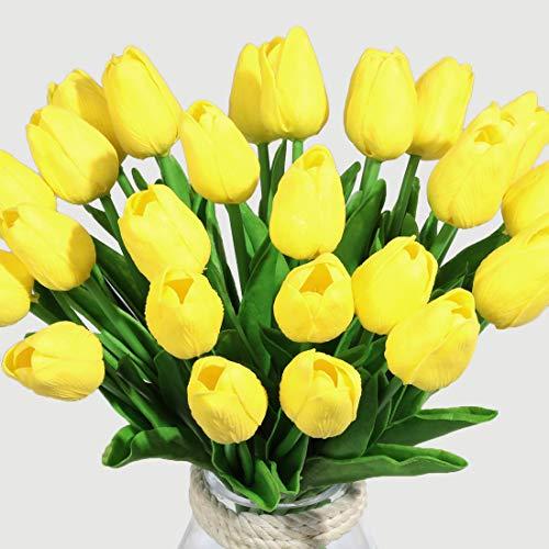 Veryhome 10 unids Tulipanes Artificiales Tulipanes Flores Reales Falsas para la decoración de la Boda del Partido del Hotel en casa, Amarillo