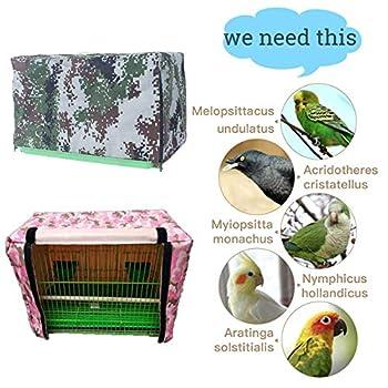 ZZX Housse pour Cage Oiseaux, Attrape Graine Garde de Cage d'oiseau Couverture Protection Permettre à l'air de circuler sans Bloquer la lumière,Green Camo,L