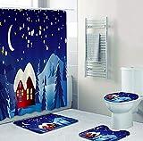 Moon Under The Hut Juego De Accesorios De Baño 4 Piezas, Juego De Cortina De Ducha Impermeable + Alfombra De Baño + Alfombra De Contorno En Forma De U + Funda De Asiento De Inodoro + 12 Ganchos