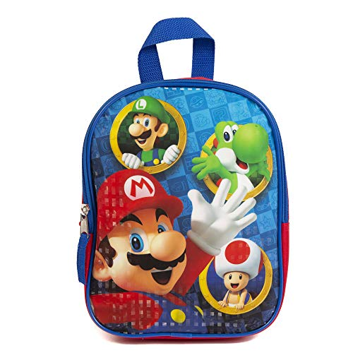 Super Mario Mini Backpack for Kids & Toddlers - 10 Inch, Blue & Red