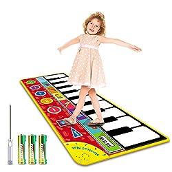 Magicfun Klaviermatte für Kinder, Musikmatte Tanzmatten Spielzeug, Musikteppich Spielmatte mit Lautsprecher Aufnahmefunktion und 8 Instrumentenklänge, Geschenke Piano Matte für Kleinkind Babys