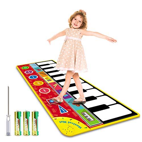 Magicfun Tanzmatte für Kleinkinder, Musikmatte Klaviermatte Spielzeug, Musikteppich Tanzmatten mit 8 Instrumentenklänge und Aufnahmefunktion, Geschenke Piano Matte für Kind Kinder ( 148 * 60cm )