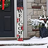 """Glitzhome Wooden Welcome Sign with Poinsettia for Porch Front Door Rustic Farmhouse Style Lighted Hanging Vertical Welcome Sign for Christmas Winter 42""""H Outdoor Sign Front Porch Decor, White"""