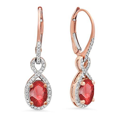 Dazzlingrock Collection 10K Ladies Infinity Dangling Earrings (Ruby), Rose Gold