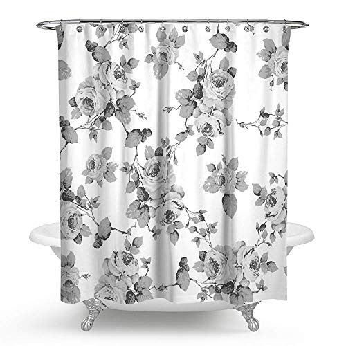 "HMWR Roses Lily Floral Waterproof Bath Shower Curtain Shabby Chic Leaves Bathroom Shower Curtain Standard Size 70"" x 70"",Gray White"