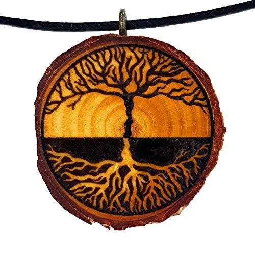 SOULSLICES Baum des Lebens 10 - HolzKette - Natur - Holzanhänger - Keltisch - Nachhaltig - Astschmuck - Gravur - Yoga - Bedeutung- Geschenk - Natur-Schmuck - Damen - Frauen