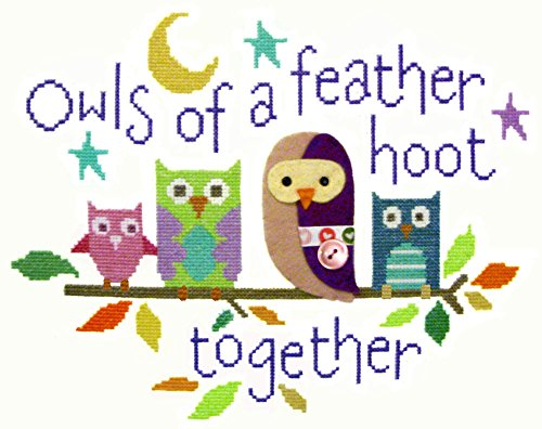 The Stitching Shed Owls of A Feather Cross Stitch and Felt Applique Kit