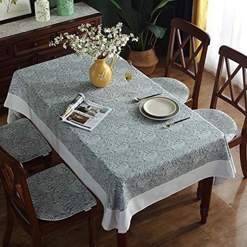 Omela Vintage Abwaschbar Tischdecke Grau Tischdecken Baumwolle Leinen Küche Tischwäsche Tischdeckenbeschwerer Tischtuch Rechteckige für Wohnzimmer Garten Esstisch Couchtisch Grau Blätter 140 x 220 cm