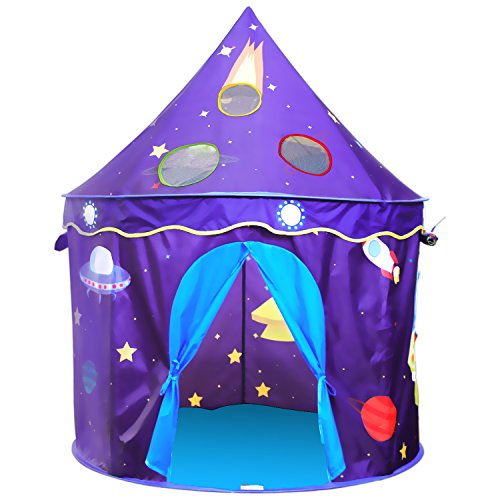 Homfu Kids Indoor and Outdoor Toy Tent Princess Prince Castle Children Play Tent and Portable Playhouse for Boys Girls Fun Plays  (Navy Bule)