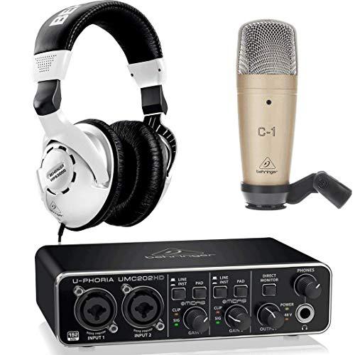 Behringer Pack U-Phoria Estudio Interface USB UMC202HD + Micrófono Estudio C1 + Auriculares Estudio HPS3000