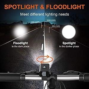 JINPXI Luz de Bicicleta LED, Luz de Bicicleta Recargable USB 6 Modos 2400 mAh Kit de Luces Delanteras y Luces Traseras LED Impermeables para Bicicleta Faros Delanteros y Traseros para Ciclismo