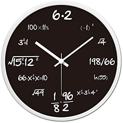 YONGJUN Large Wall Clock 12-inch Round Silent Decorative Wall Clock - Math Formula For
