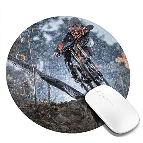 Washable Mouse Pad - Round Forest Mountain Bike Mouse Mat, Non-Slip Rubber Mousepad with Stitched Edge, Personalized Mouse Pad for Women Girls Office Dorm Computer Laptop, 7.9 X 7.9 Inch