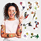 Miraculous Ladybug Temporary Tattoos | Pack of 9 | Ladybug - Cat Noir - Rena Rouge - Queen Bee - Carapace - Tikki - Plagg & more | MADE IN THE USA | Skin Safe | Party Supplies & Favors | Removable