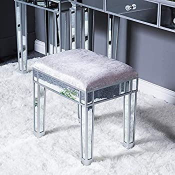 Mirrored Vanity Stool Modern Style Silver Ottoman Footrest Stool Makeup Vanity Dressing Chair Comfortable Padded Cushioned Vanity Bench for Makeup Room Bedroom