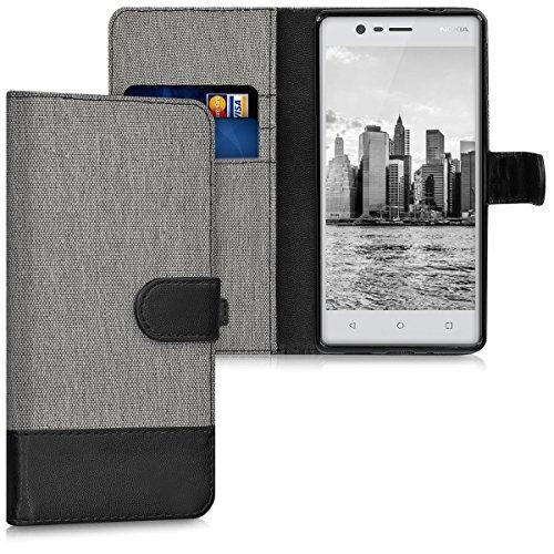 kwmobile Nokia 3 Hülle - Kunstleder Wallet Case für Nokia 3 mit Kartenfächern & Stand - Grau Schwarz