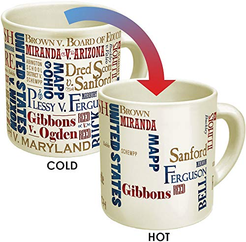 Supreme Court Heat Changing Mug - Add Coffee or Tea to Reveal The Winners of Famous Supreme Court Cases - Comes in a Fun Gift Box