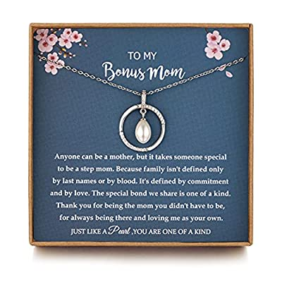 Mom Gifts, Bonus Mom gifts from Daughter/Bride, Mothersday Gifts for Mother in Law/Step mother wedding gift, Sterling Silver Single Pearl Necklace for Women