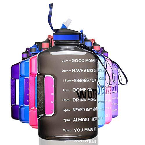 ETDW 3,78 Liter Trinkflaschen mit Strohhalme BPA Frei, 3,78L Wiederverwendbare Wasserflaschen mit Zeitangaben, GroßE Sportflasche mit Starkem Griff für Sport, Fitness, Freiluft, Wandern Schwarz