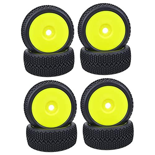 Hellery 4 Piezas de neumáticos de Goma Cubos de neumáticos Llantas de Rueda para Coche RC Buggy Piezas de Repuesto de Coche Accesorio