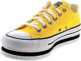 Converse, CTAS Layer Amarillo 567998C, Zapatillas Plataforma para Mujer, 39