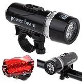 Hunpta @ Bike Light Kit Cast Power Waterproof 5 LED Lamp Bike Front Head Light + Rear Safety Flashlight Set, Fits All Bikes, Best Front and Rear Cycle Lighting - Fits All Bikes (Black)