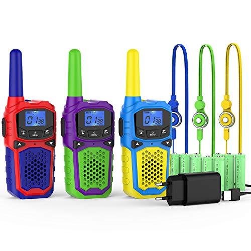 woktokWalkie Talkie para Niños3 Pcs 8 Canalesy 9 Baterías Recargables Función VOX LCD Pantalla, hasta 5 KM en Area Abierta,Juegos de Aventura al Aire Libre Camping Senderismo