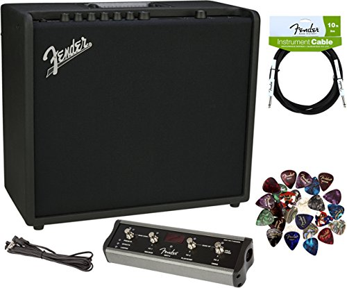 Fender Mustang GT 100 Guitar Amplifier Bundle with MGT-4 Footswitch, Instrument Cable, Pick Sampler, and Austin Bazaar Polishing Cloth