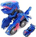 Dinosaur Auto Spielzeug Transformer, Transformers Spielzeug Mit Licht Und Soundfunktion, Fahrzeuge Spielzeug für Kinder ab 3+ Jahren(Blau)