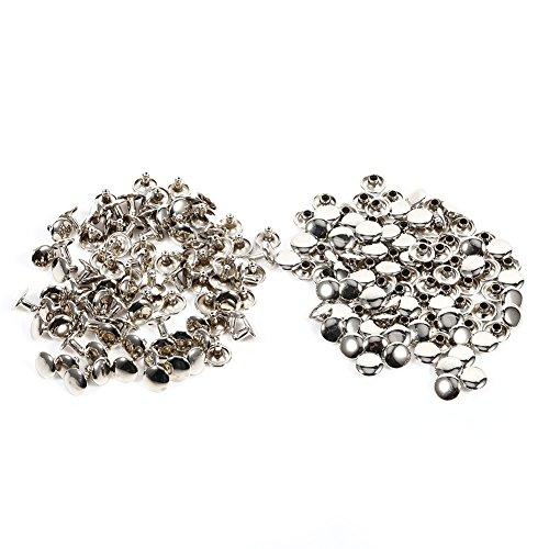 Remaches de Doble Cara Remaches de Hierro para Artesanía de Cuero Bolsa Zapatos 100unidades 10 × 8 mm(Plata)