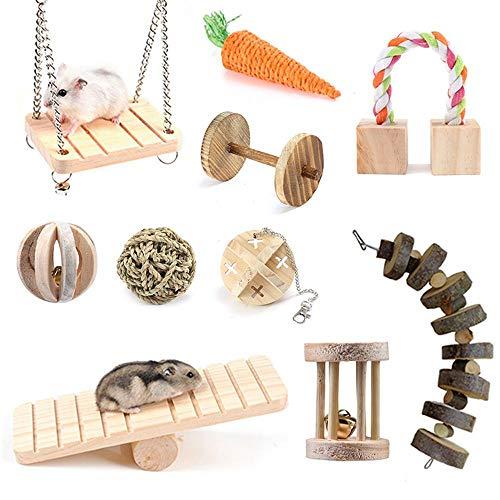 Volwco Hamster Kauspielzeug 10 Stück Kleine Haustiere Zahnpflege Molaren Spielzeug Natürliche hölzerne Wippe Hanteln Übung Bell Roller Swing Bucket Für Meerschweinchen Chinchilla Hamster