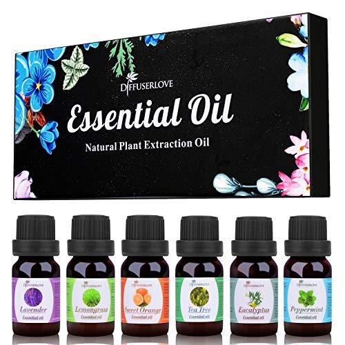 Diffuserlove Essential Oils 6 Gift Set Eucalyptus, Lavender, Lemongrass, Sweet Orange, Peppermint,Tea Tree