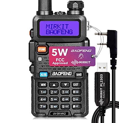 Baofeng UV-5R MK2 FCC Approved 5 Watt 2021 Handheld Dual Band Ham Radio, Mirkit Edition USA Warranty + Programming Cable Mirkit pl2303 and Free Software