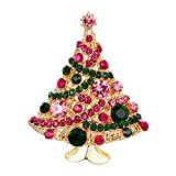 EVER FAITH Streamer Star Christmas Tree Brooch Pin Green w/Pink Austrian Crystal