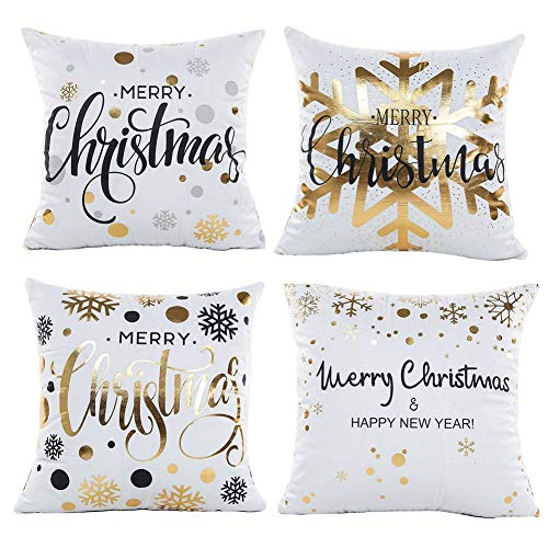 Gspirit Natale Fiocco di Neve 4 Pack Cuscini per divani Decorativo Cotone Biancheria Cuscino copricuscini Divano Caso Federa per Cuscino 45x45 cm
