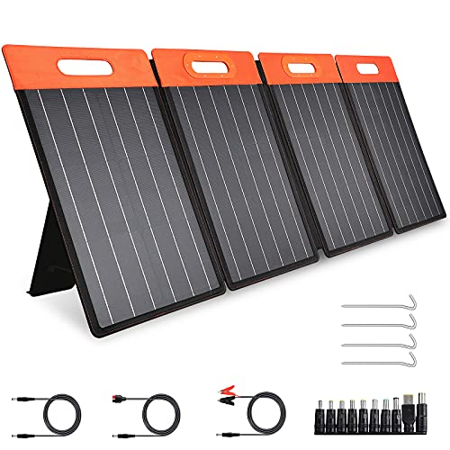 GOLABS 100W Portable Solar Panel with Foldable Kickstand for Power Station Outdoor Solar Generator, Monocrystalline Solar Charger with Type C/DC/QC 3.0 USB Ports for Laptop/iPad/iPhone
