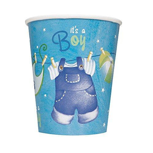 Partido Ênico 9 oz Tendedero Baby Shower Copas de papel (paquete de 8, Azul)