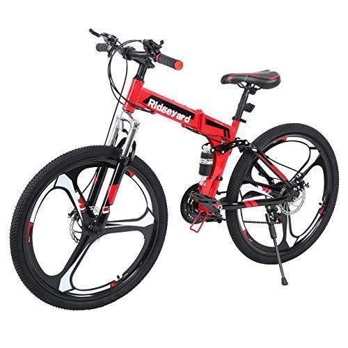 26 Pollici 21 Velocit Pieghevole Bicicletta Adulti Bike MTB Freni a Disco Mountain Bike Unisexe (Nero + Rosso)
