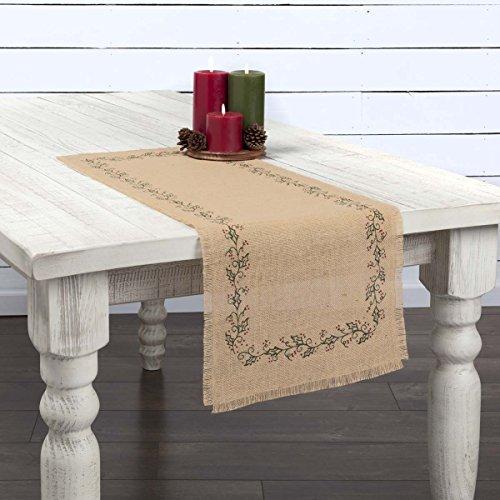 "VHC Brands Holiday Tabletop & Kitchen-Jute Burlap Tan Ivy Runner, 13"" x 36"", Grey"