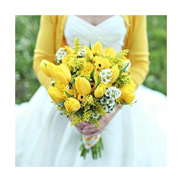 Meccion 12 tulipanes de Holanda artificiales de flores para novia, ramo de boda, aspecto real, respetuoso con el medio…