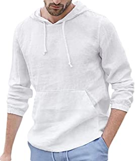 GAGA Mens Linen Cotton Shirts Pullover Hoodie Long Sleeve T Shirt Sweatshirt with Pocket