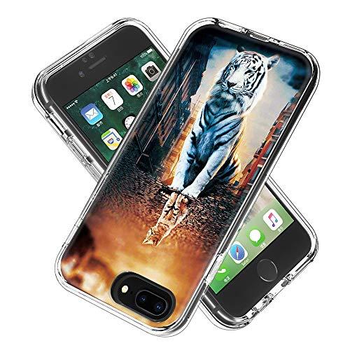 Coque iPhone 6s Plus/6 Plus/7 Plus/8 Plus, Silicone Bumper, Transparent PC + TPU Hybride Boîtier de Protection avec Carte de Mode (La réflexion)
