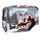 Bolsa de cosméticos para mujer, linterna de Navidad con copos de nieve, florales, artículos de tocador, bolsas grandes de PVC para maquillaje, práctico organizador con cremallera