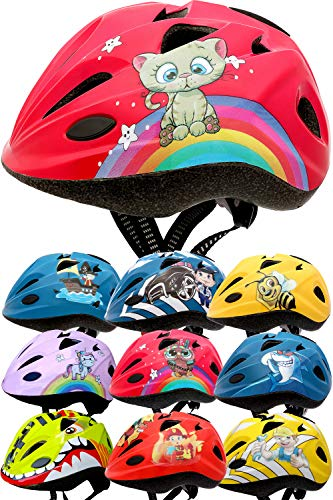 Skullcap® Fahrradhelm für Kinder Helm für City-Roller, Longboard, Scooter - Roter Helm für Inliner, Schlittschuh/Rollschuh von Kindern gestaltet - von Profis gebaut, Süße Katze