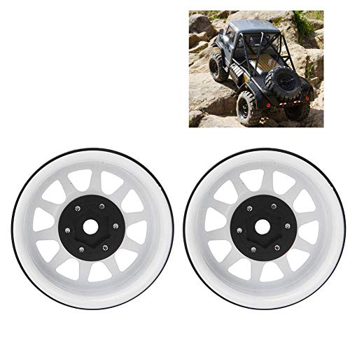 Dilwe RC Felgen, Außen Φ54 mm - Innen Φ45mm - Breite 25mm - Alu - Beadlock Felgen Hub für TRAXXAS TRX-4, Axial SCX10 II 90046 SCX10 III AXI03007, Für RC On-Road Rennwagen & Drift Car( Weiß )