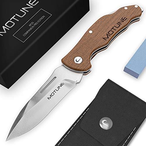 MOTUNE® Zweihand Klappmesser 2-in-1 KP25 - Scharfes Taschenmesser mit Walnussholzgriff - Zweihandmesser aus Edelstahlklinge 440C - Jagdmesser - Outdoor Messer mit Schleifstein & Gürteltasche