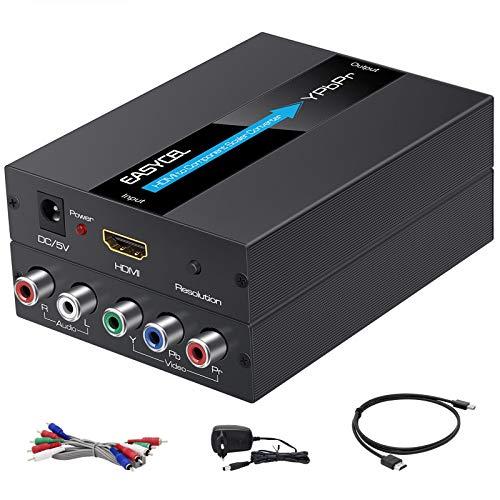 EASYCEL Convertidor de HDMI a componente (YPbPr/RGB / 5RCA) (con función de escalador, aluminio), entrada HDMI a componente (YPbPr/RGB/5RCA) (con cable HDMI y componente).