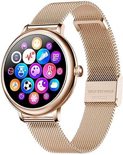 Reloj inteligente Bluetooth, reloj de pulsera de fitness con contador de calorías de paso de sueño, rastreador de actividad, recordatorio de llamadas, color dorado